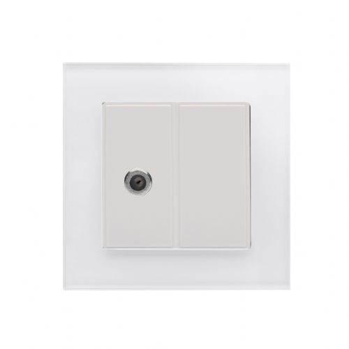 RetroTouch Single Satellite Socket White Glass PG 04843
